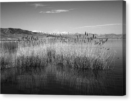 Utah Lake And Wasatch Mountains Canvas Print