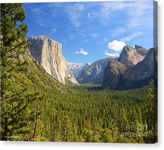 Valley Blue Sky And Clouds Yosemite National Park Canvas Print