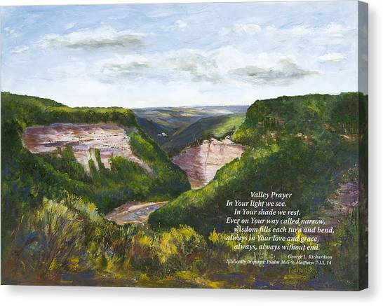 Valley Prayer With Poem Canvas Print