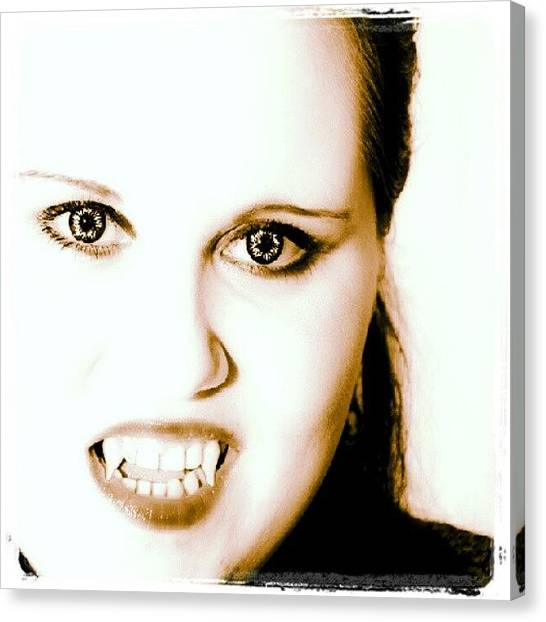 Teeth Canvas Print - #vampire #crazy #eyes #teeth #follow by Sebastian Mueller
