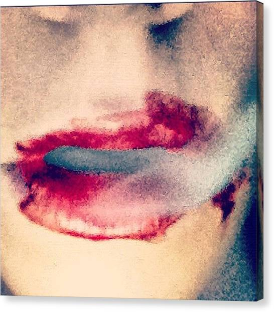 Erotic Canvas Print - #vampire #iphone #lips #sexy by Lucy Perry
