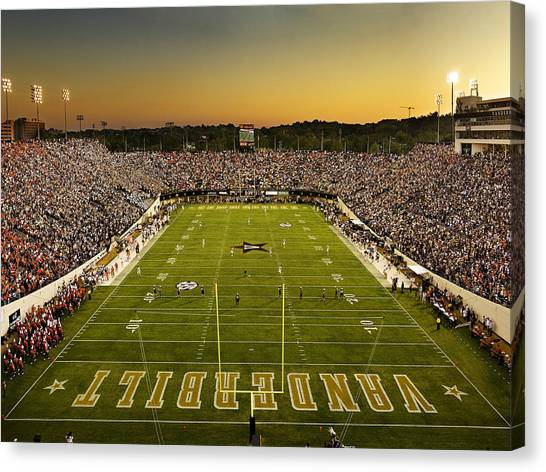 Vanderbilt Endzone View Of Vanderbilt Stadium Canvas Print by Vanderbilt University
