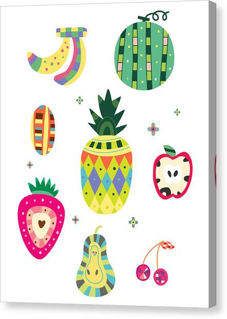 Pineapples Canvas Print - Various Kinds Of Fruit by Eastnine Inc.