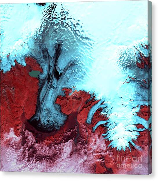 Vatnajokull Glacier Canvas Print - Vatnajokull Glacier Ice Cap, Iceland by Nasa