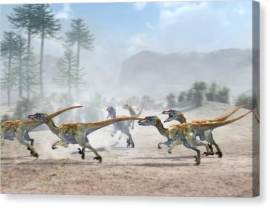 Velociraptor Canvas Print - Velociraptor Dinosaurs by Jose Antonio PeÑas