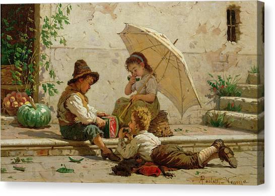 Watermelons Canvas Print - Venetian Children by Antonio Paoletti