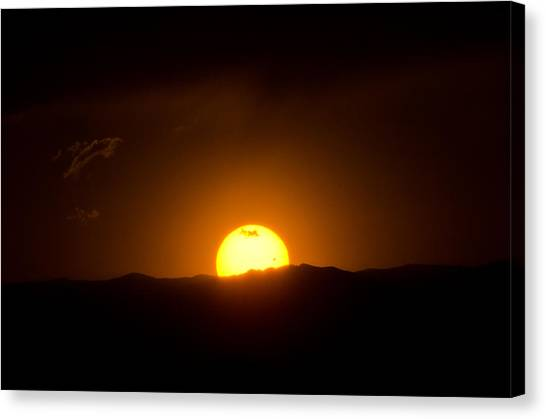 Venus Transit Setting Over The Rocky Mountains Canvas Print