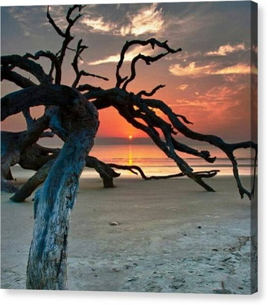 Beach Sunsets Canvas Print - Very Easy To Become A #morning Person by Keikei Kelly