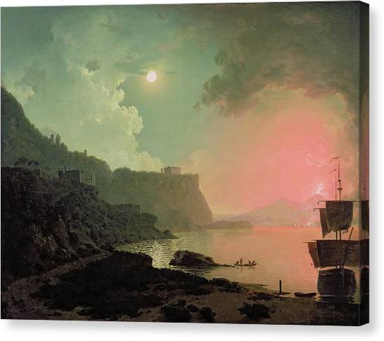 Mount Vesuvius Canvas Print - Vesuvius From Posillipo by Joseph Wright of Derby