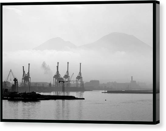 Mount Vesuvius Canvas Print - Vesuvius In The Mist. by Terence Davis