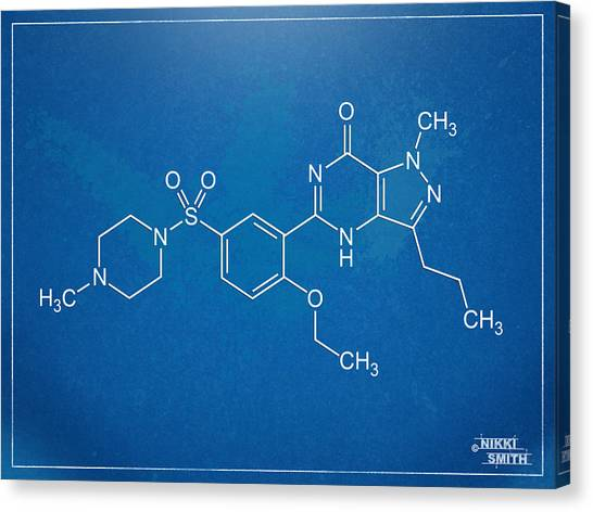 Molecule Canvas Print - Viagra Molecular Structure Blueprint by Nikki Marie Smith