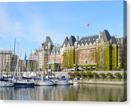 Victoria Vancouver Island Hotel Canvas Print by Ann Marie Chaffin