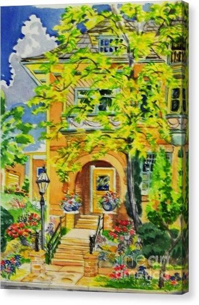 Victorian Sandstone Mansion Denver Colorado Canvas Print by Annie Gibbons