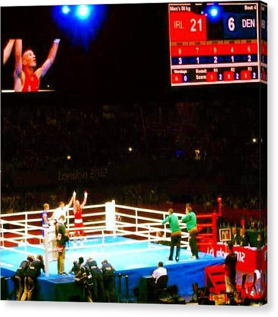 Fighting Canvas Print - Victory In The Ring by Mike Leport