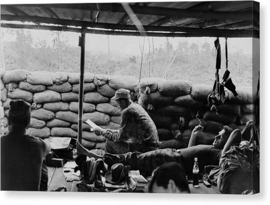 Green Berets Canvas Print - Vietnam War. Soldiers Relaxing At A Us by Everett