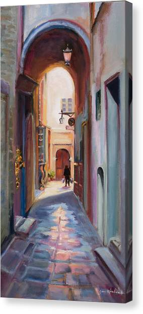 Canvas Print - View Down A Street In Cortona by Jane Woodward