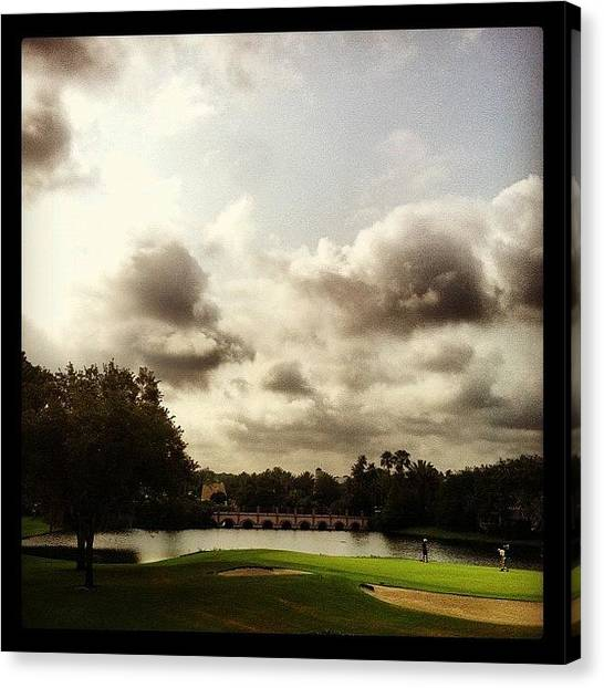 Golf Canvas Print - View From Our Villa At Disney's Old by Arnab Mukherjee
