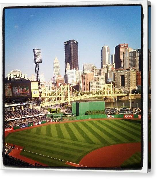 Stadiums Canvas Print - View From Pnc Park. #pittsburgh #pirates by Christian Carollo