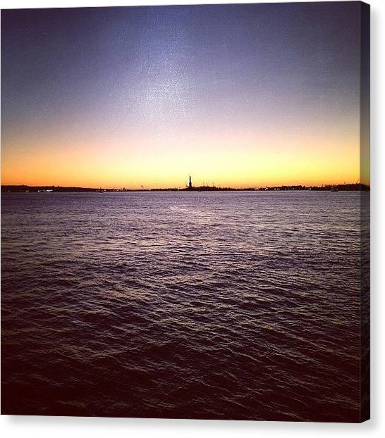 Statue Of Liberty Canvas Print - View From The Statue Of Liberty Ferry by Rachel McPhee