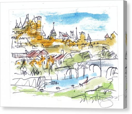 View Of Carcassone France Canvas Print