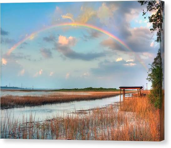 View Of Charleston Rainbow  Canvas Print by Jenny Ellen Photography