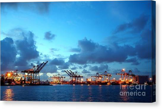View Of Kaohsiung Harbor At Dusk Canvas Print