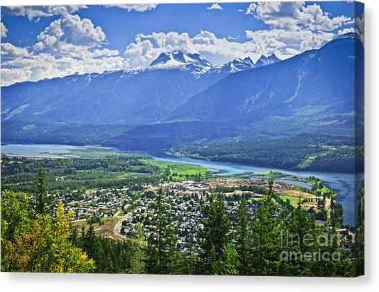 Town Canvas Print - View Of Revelstoke In British Columbia by Elena Elisseeva