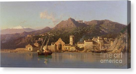 Mount Etna Canvas Print - View Of Taormina Sicily by Alessandro la Volpe