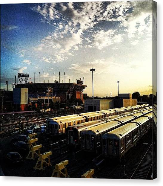 Tennis Canvas Print - View Of The 7 Train Rail Yard And The by Arnab Mukherjee