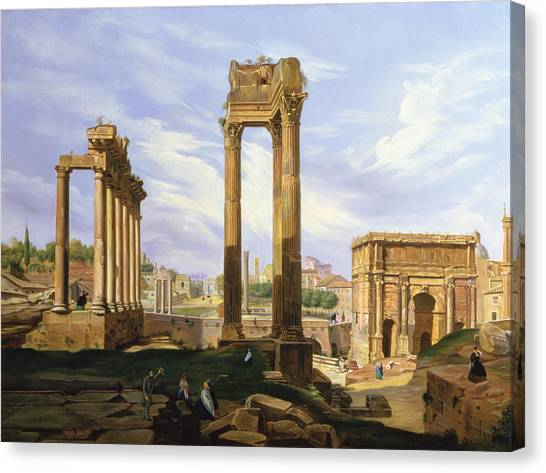 The Forum Canvas Print - View Of The Roman Forum by Jodocus Sebasiaen Adeele