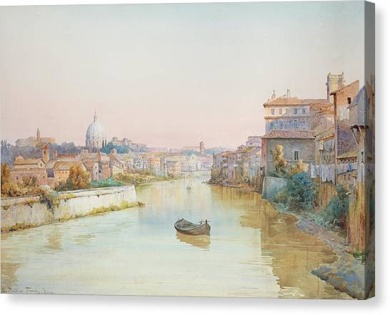 Rivers Canvas Print - View Of The Tevere From The Ponte Sisto  by Ettore Roesler Franz