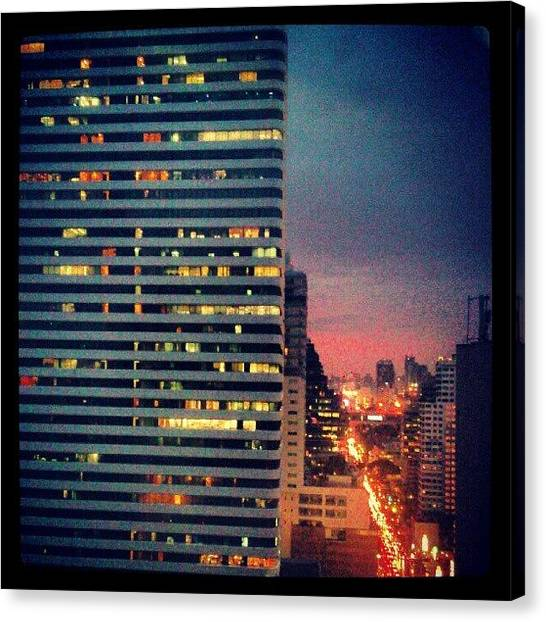 Offices Canvas Print - #view #sunset #bangkok #city #night by Mindy Vichaidit