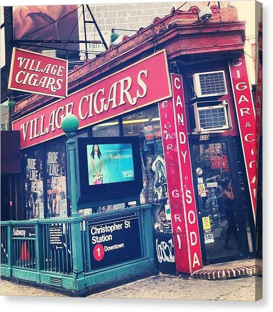 Nyc Canvas Print - Village Cigars by Randy Lemoine