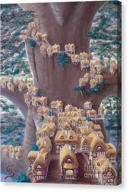 Village In A Tree From Arboregal Canvas Print