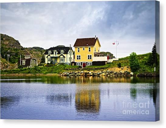 Harbour Canvas Print - Village In Newfoundland by Elena Elisseeva