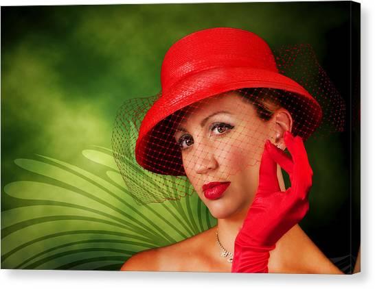Vintage - Red Hat Lady Canvas Print