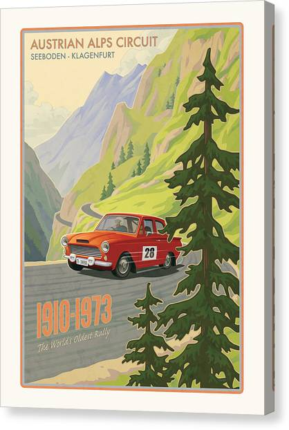 Roads Canvas Print - Vintage Austrian Rally Poster by Mitch Frey