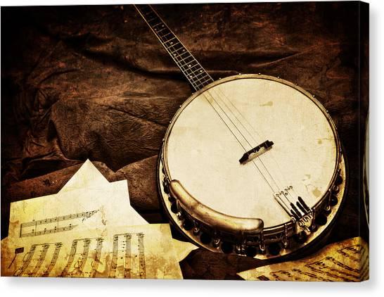 Vintage Banjo Canvas Print by Trudy Wilkerson