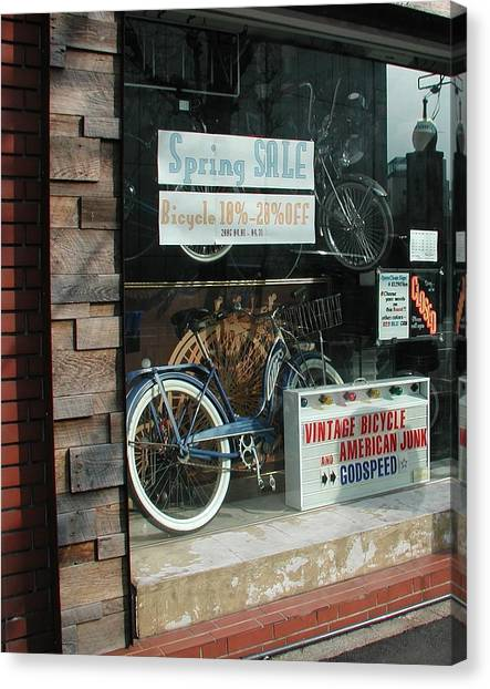 Vintage Bicycle And American Junk  Canvas Print