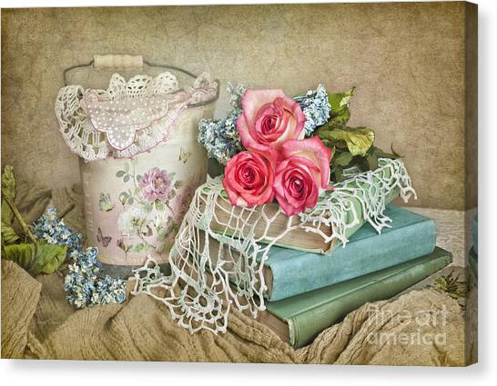 Vintage Books And Roses Canvas Print