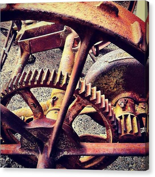 Machinery Canvas Print - #vintage #cart #wheel #rusty #farm by Glen Offereins