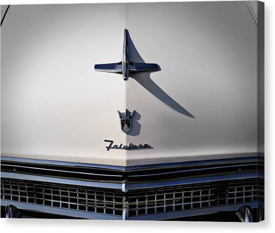 Grills Canvas Print - Vintage Ford Fairlane Hood Ornament by Douglas Pittman