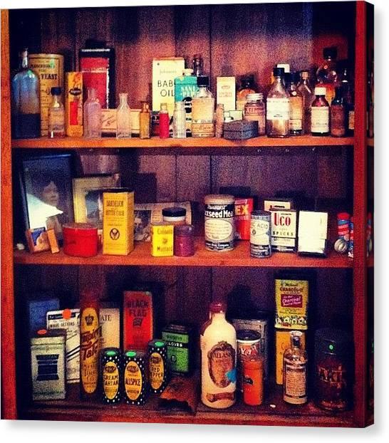Farmhouse Canvas Print - #vintage #medicinecabinet #shelves by T C