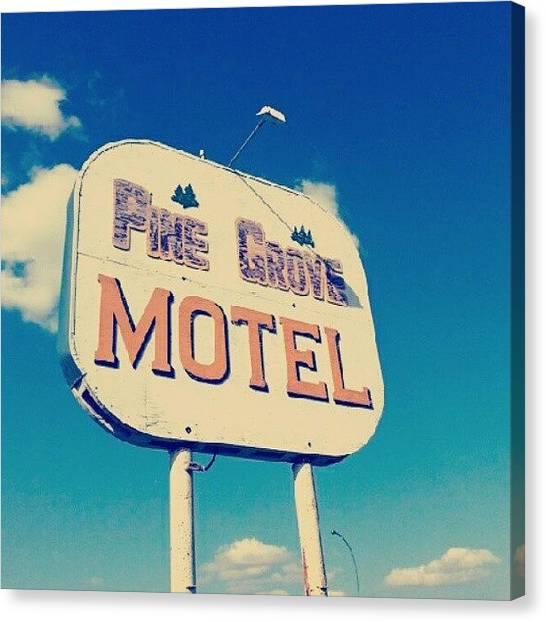 Saskatchewan Canvas Print - #vintage #motel #sign Near #canora by Michael Squier