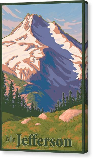 Glaciers Canvas Print - Vintage Mount Jefferson Travel Poster by Mitch Frey