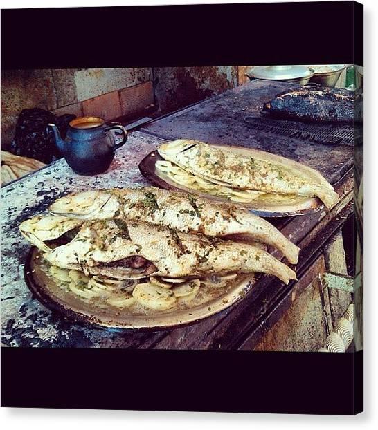 Seafood Canvas Print - Vintage Pic Alexandria Fresh Fish by Kareem Nour