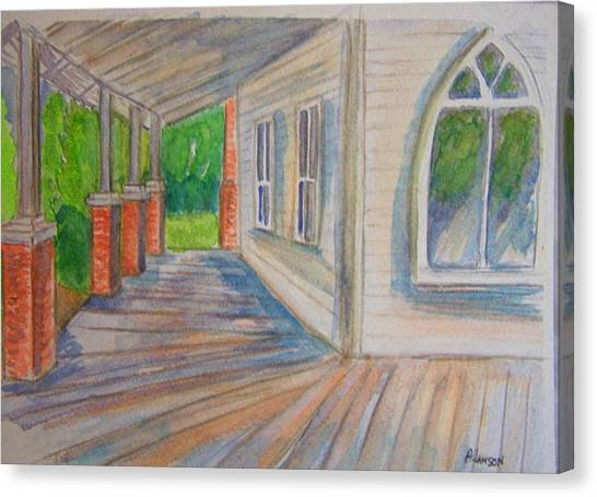 Vintage Porch With Gothic Window Canvas Print