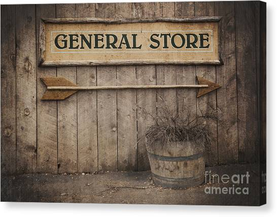 Rustic Canvas Print - Vintage Sign General Store by Jane Rix