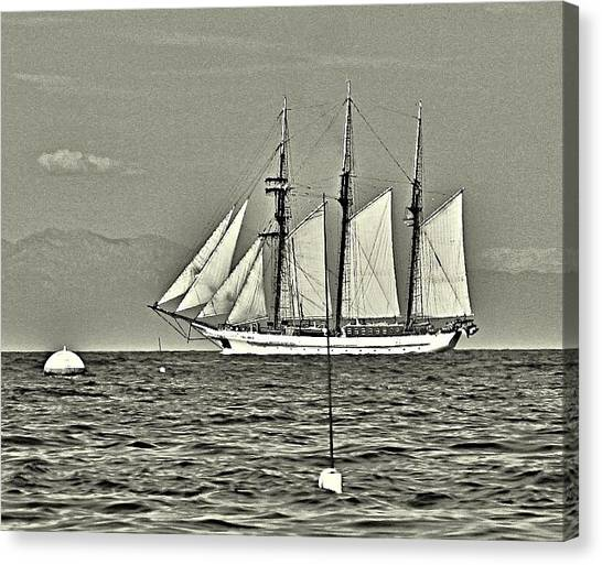 Vintage Tall Ship Canvas Print by Lauren Serene