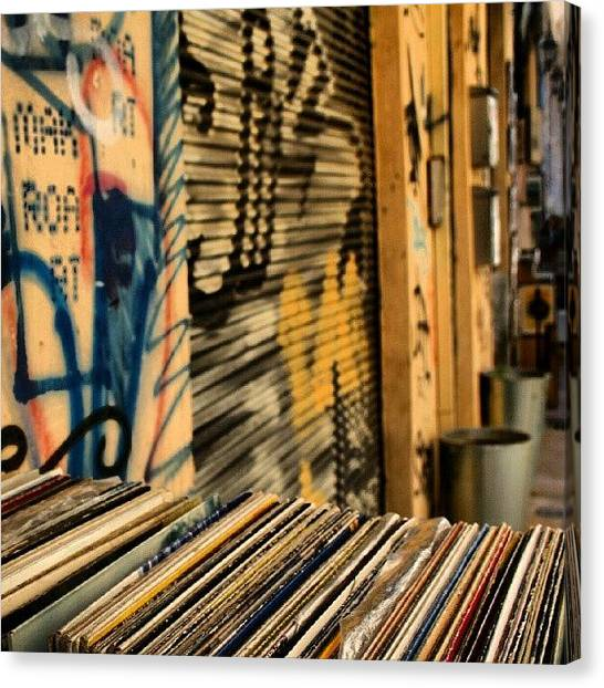 Athens Canvas Print - Vinyls At A Flea Market In Athens by Mish Hilas